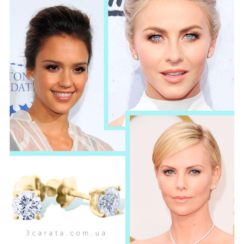 Золотые серьги пусеты с бриллиантами 'Camellia' ювелирный интернет-магазин 3Карата