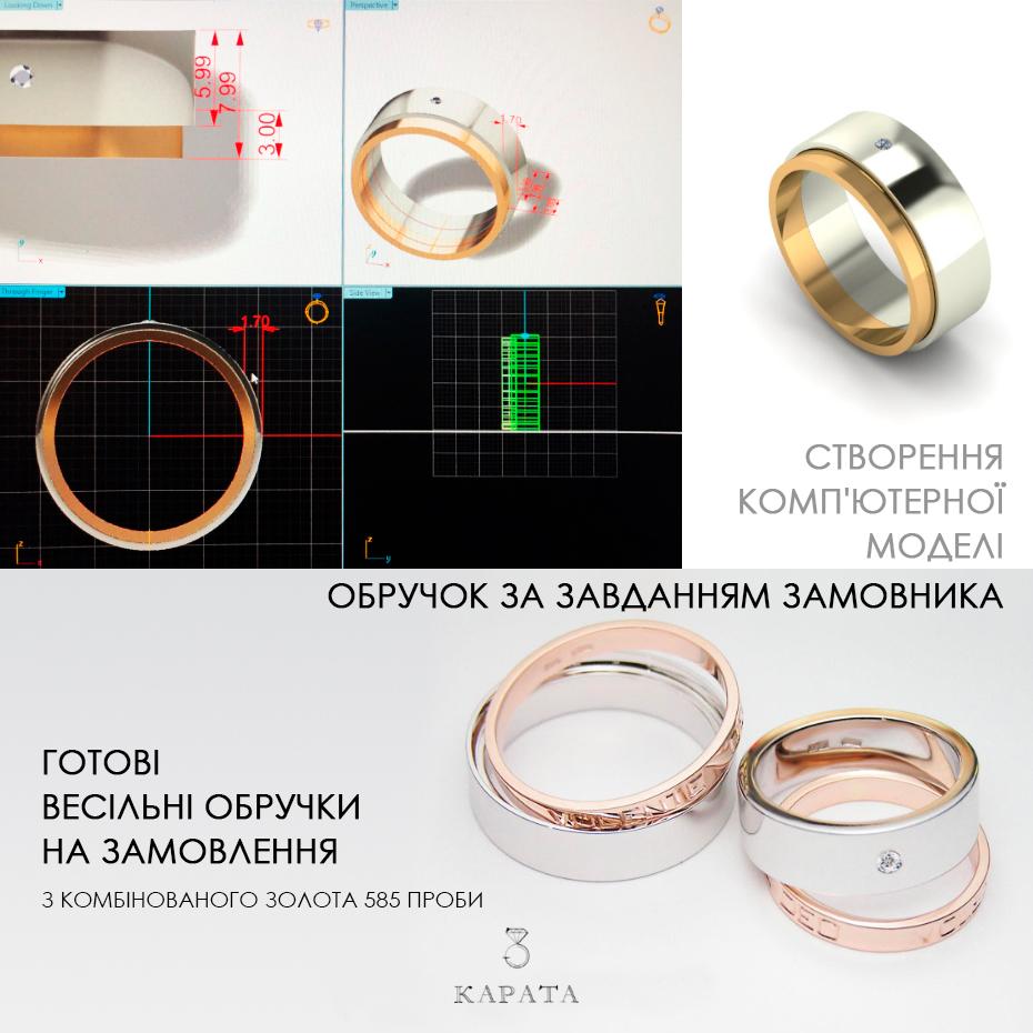 Обручка золота з двох кілець Ювелірний інтернет-магазин 3Карата