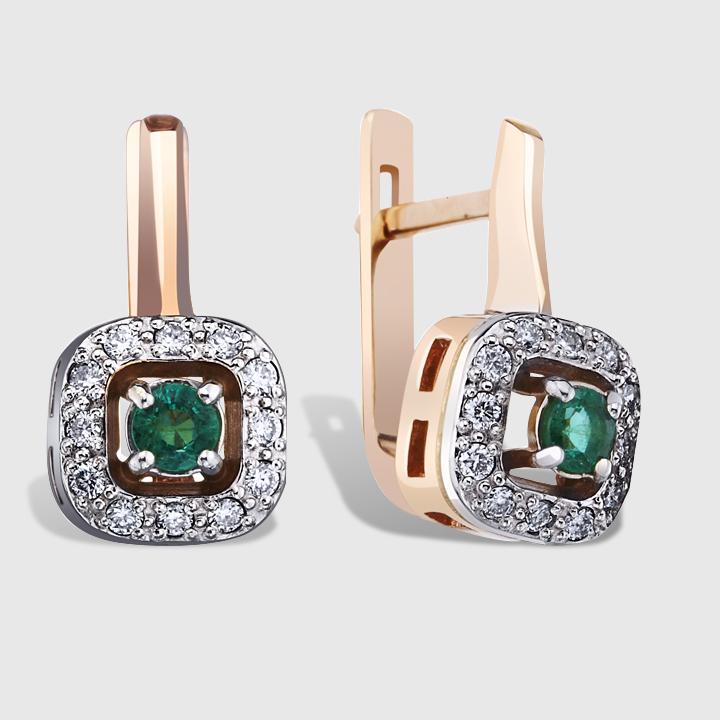 Золоті сережки з смарагдом і діамантами 'Королівська розкіш'