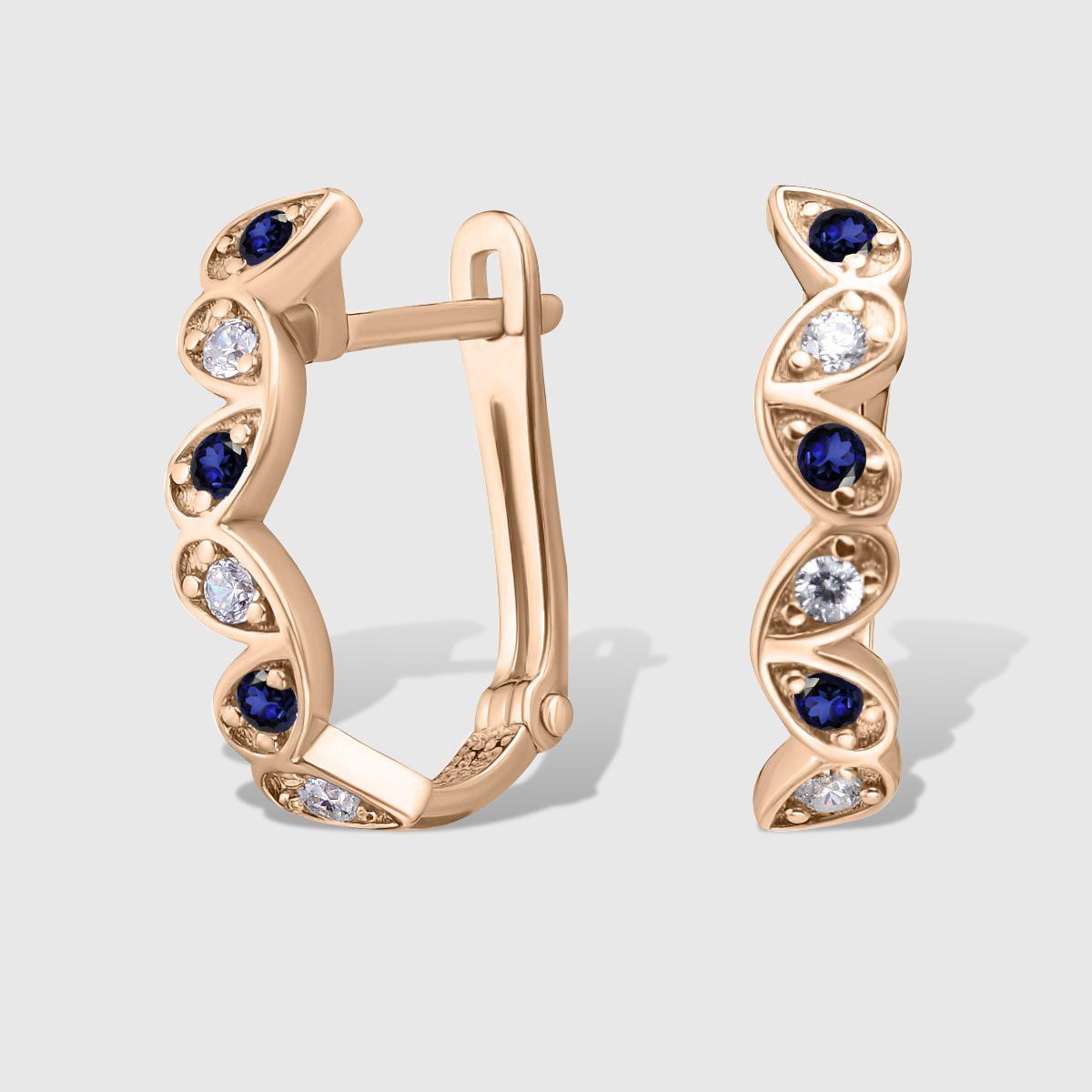 Сережки з сапфіром та діамантами 'Petals'