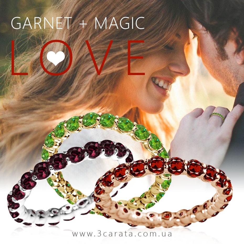 Золотое кольцо с гранатами 'Marmalade' Ювелирный интернет-магазин 3Карата