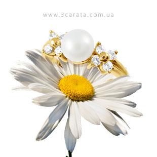 Золоте кільце з перлиною 'Виринея'