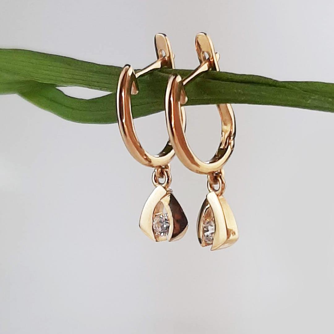 Золоті сережки з діамантами 0,24 Ct на підвісці 'Alioth'