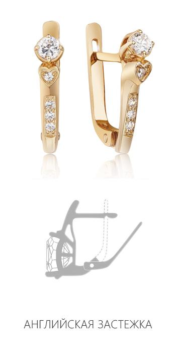 Золотые серьги с цирконием 'Дебора'