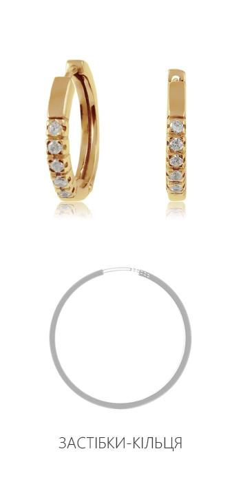 Золотые круглые серьги с фианитами 'Колечки'