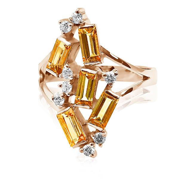 Елітне кольцо з прямокутними цитринами 'Полярне сяйво'