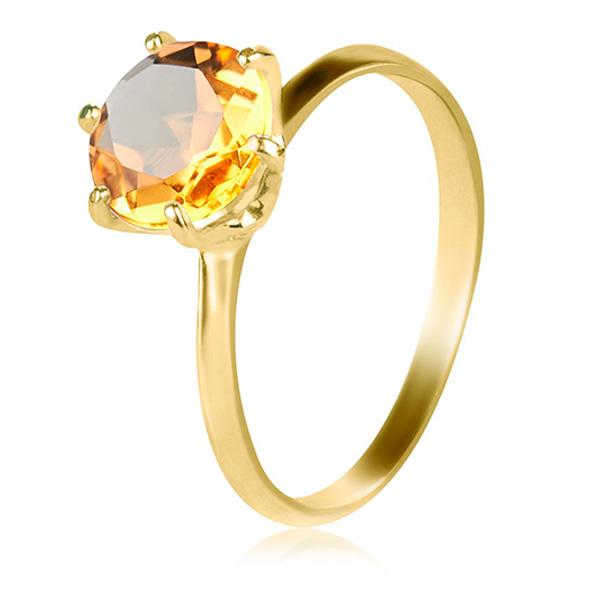 Золота каблучка для заручин з цитрином 'My Tiffany'