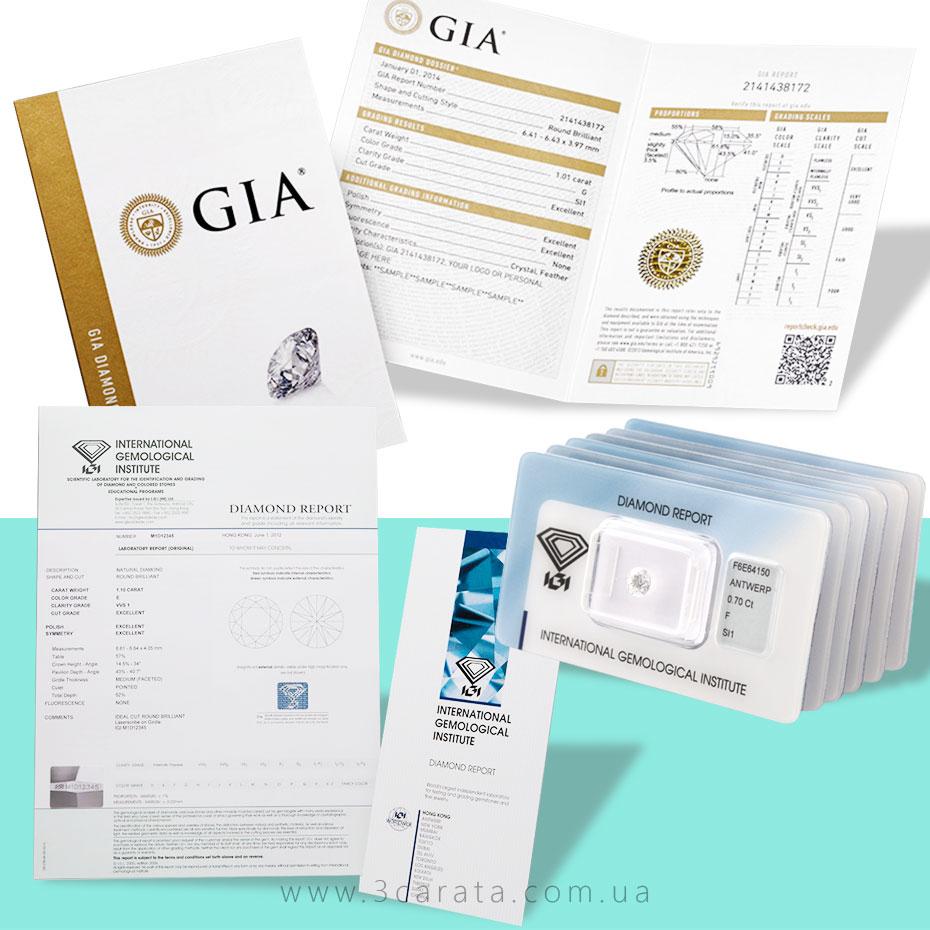 Примеры международных сертификатов для бриллиантов Ювелирный интернет-магазин 3Карата