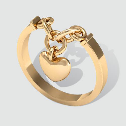 Золотое кольцо с цепью - 3 Карата