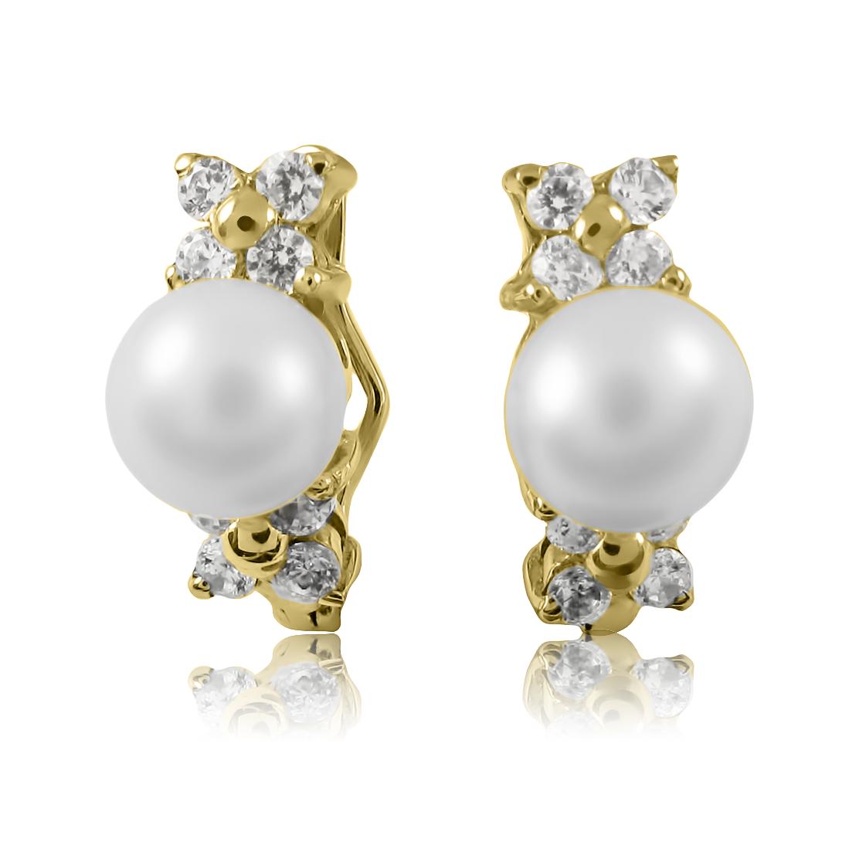 Золотые сережки с жемчугом 'Виринея'