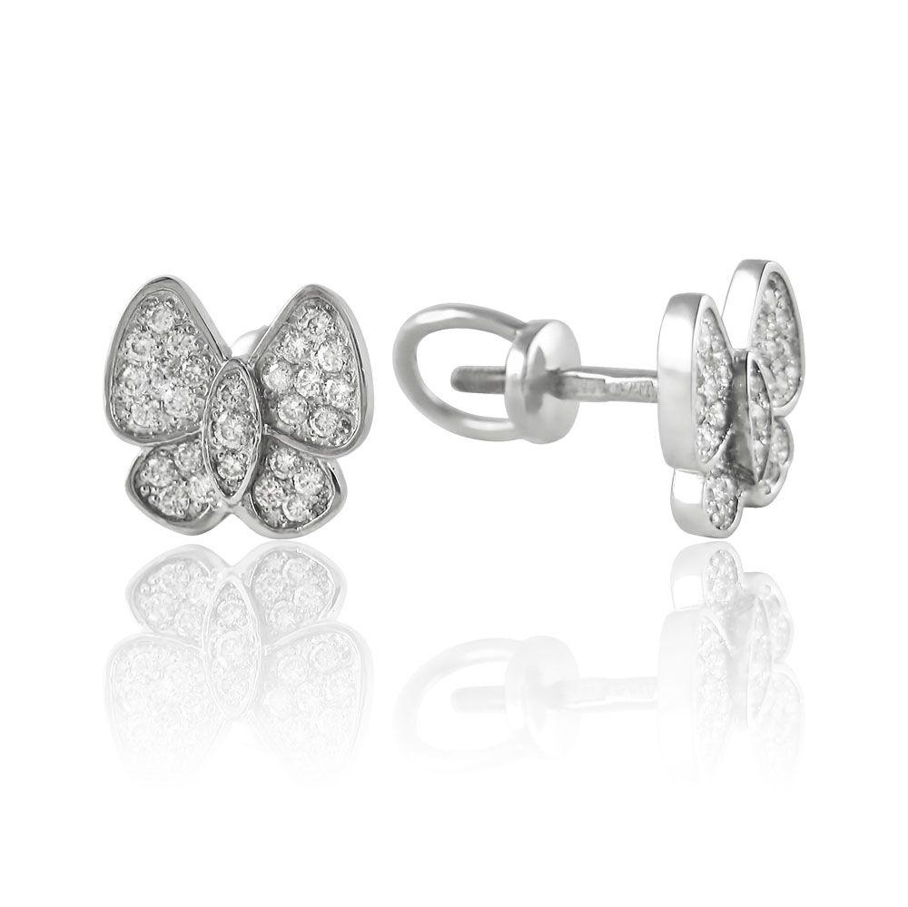Золотые серьги пусеты с бриллиантами 'Бабочка'