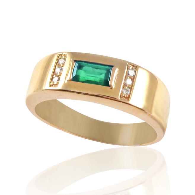 Золотой перстень изумруд