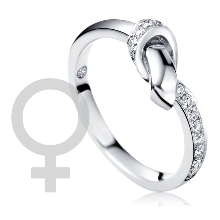 Кольцо с бриллиантом на внутренней поверхности 'Узел страсти'