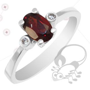Кольцо с гранатом и бриллиантами 'Лидия'