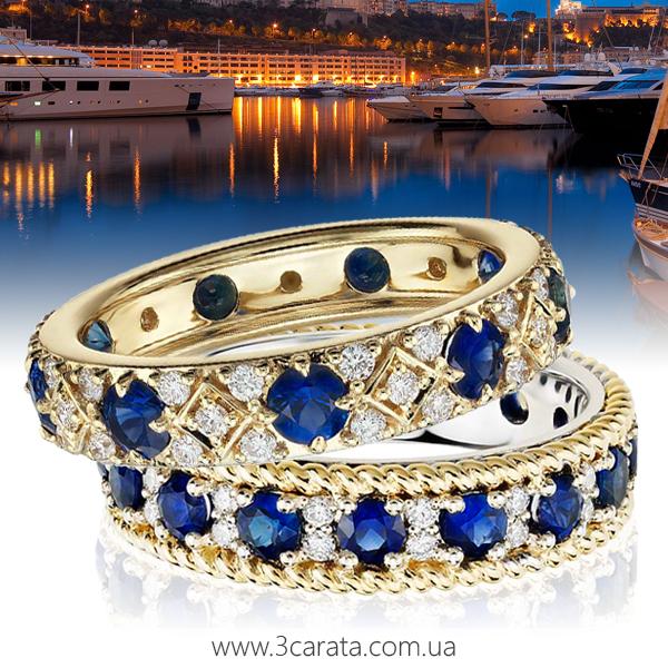 Каблучка з сапфірами і діамантами 'Монако'