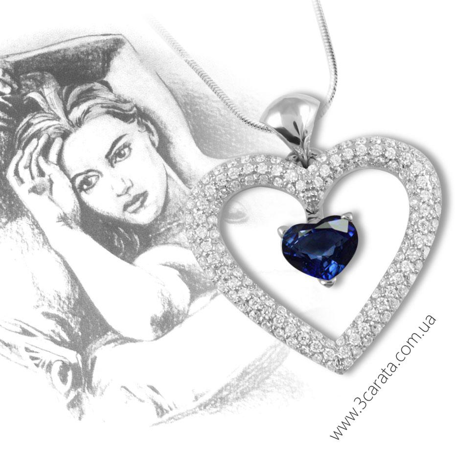 Кулон сапфиры бриллианты