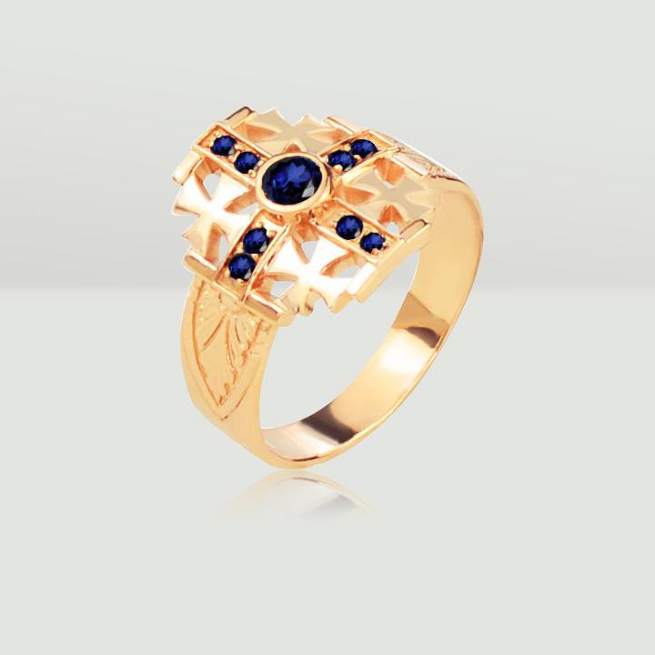 Золотой перстень с сапфиром 'Мальтийский Крест'