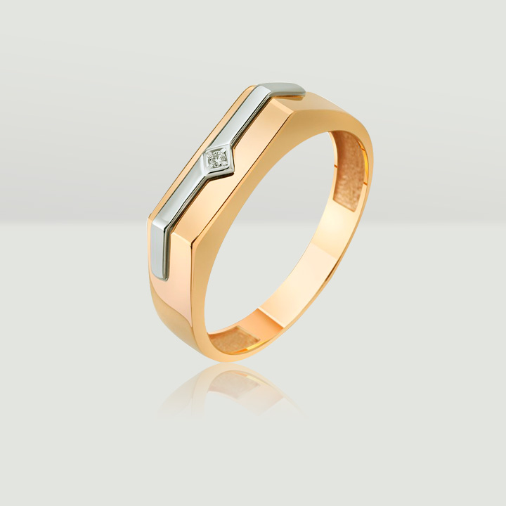 Золотой мужской перстень с небольшим бриллиантом 'Лидер'