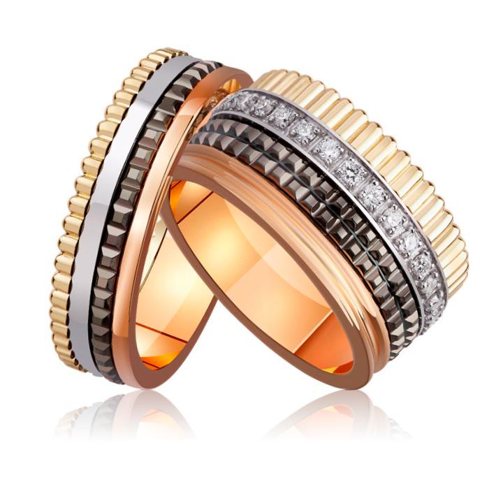 Обручальное широкое кольцо в стиле Boucheron с бриллиантами 'VIP'