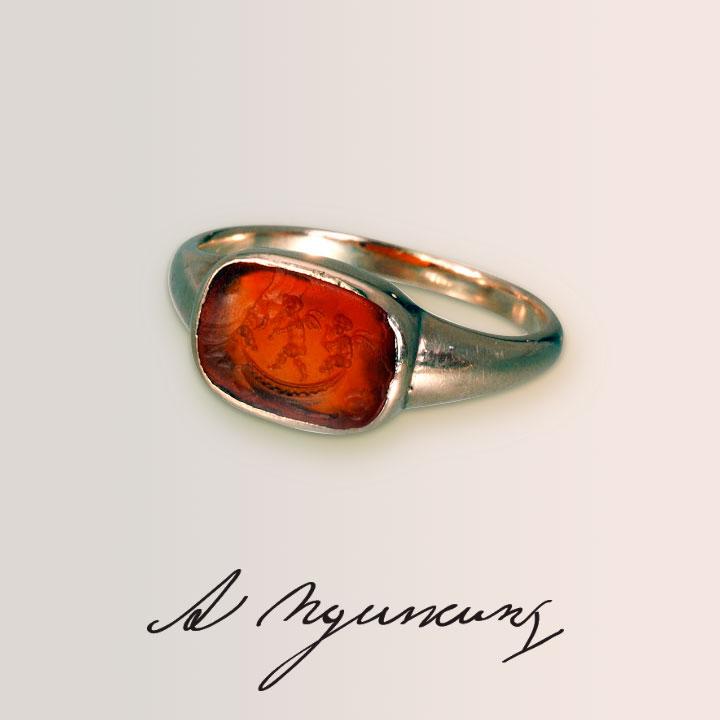 Кольцо Пушкина с сердоликом