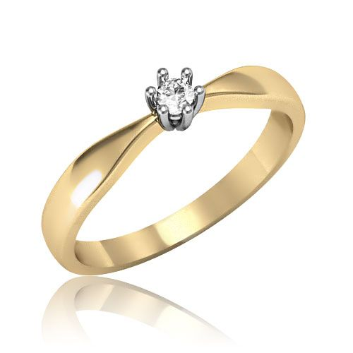 Золота каблучка на заручини діамант