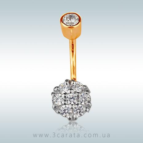 Серьга для пирсинга пупка с бриллиантами 'Mystic Flower'