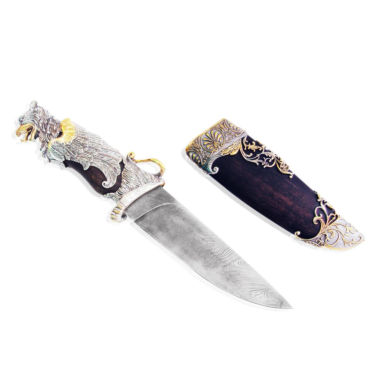 Срібний мисливський ніж з позолотою 'Грифон'