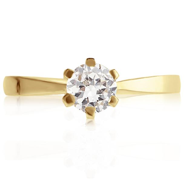 Золотое кольцо cо сваровски на помолвку 'Forever'