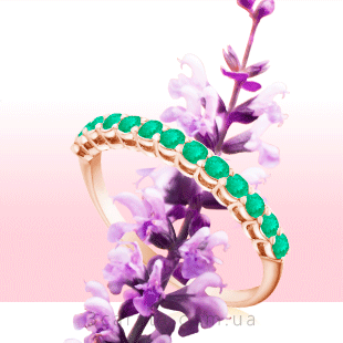 Золота каблучка доріжка з смарагдами 'Beautify'
