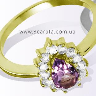 Золотое кольцо с аметистом 'Сиреневая даль'