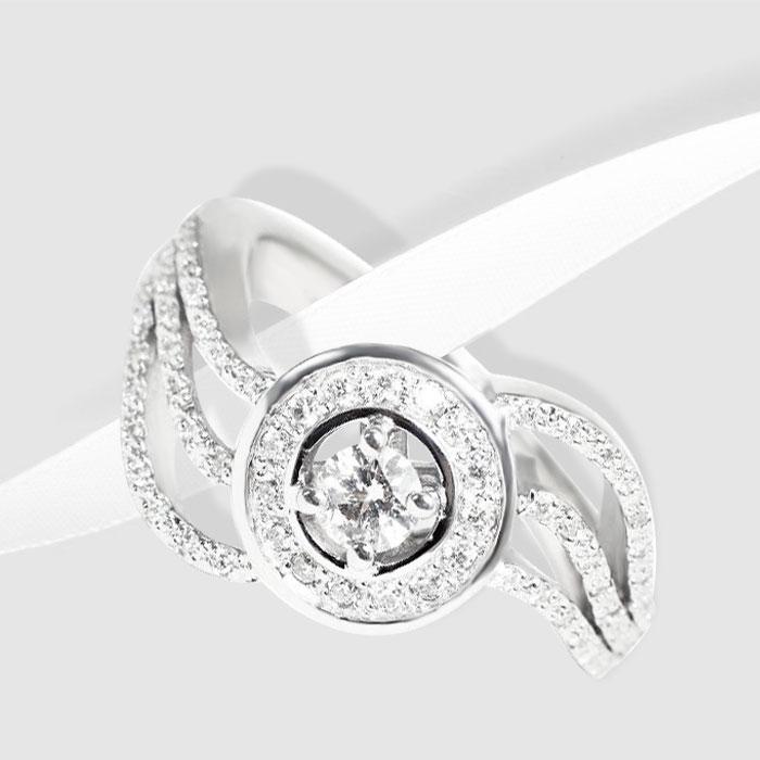 Золота каблучка з діамантами  Miraggio  Ювелірний інтернет-магазин 3Карата 1b93e80bd7676
