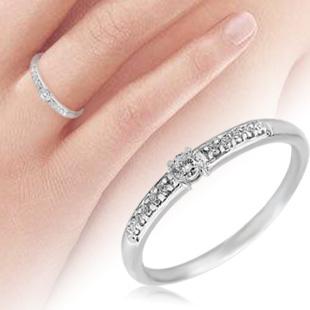 Помолвочное кольцо 'Тала' с бриллиантами дорожкой