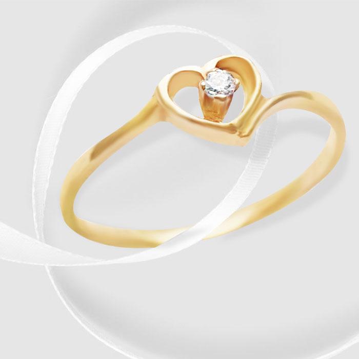 Золота каблучка з цирконом  Небесний шепіт  Ювелірний інтернет-магазин  3Карата 3430048217123