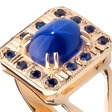 Золотое кольцо с сапфирами 'Лавина любви'