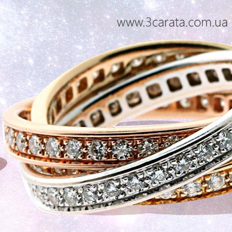 Золотое обручальное кольцо с цирконием 'Тринити' Ювелирный интернет-магазин 3Карата