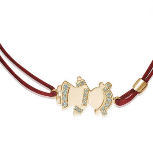 Золотой браслет-шамбала для мамы 'Девочка'