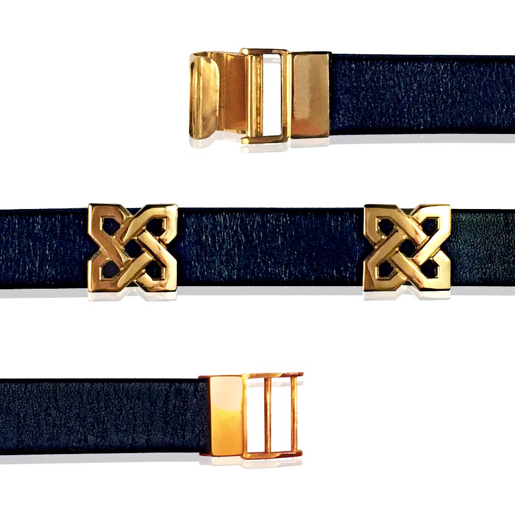 Золотой браслет кожаный ремешок