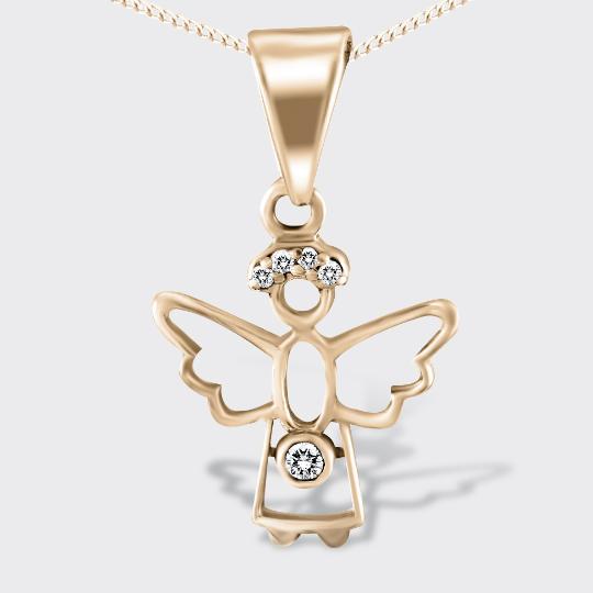 Золота підвіска янгол з діамантами