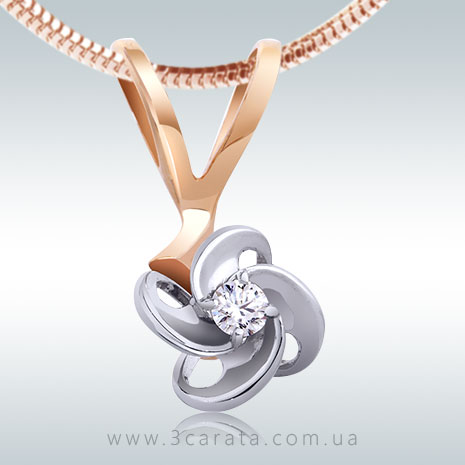 Золотой кулон с бриллиантом 0,10 Ct 'Магия'