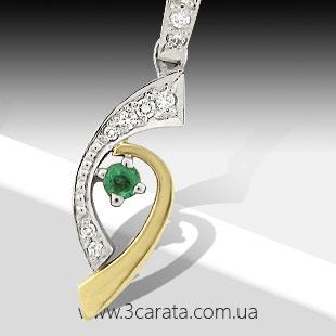 Золотой кулон с изумрудом и бриллиантами 'Радуга'