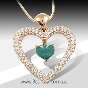 Золотой кулон сердечко с изумрудом 'Love heart'