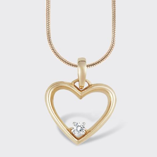 Золотий кулон серце з діамантом