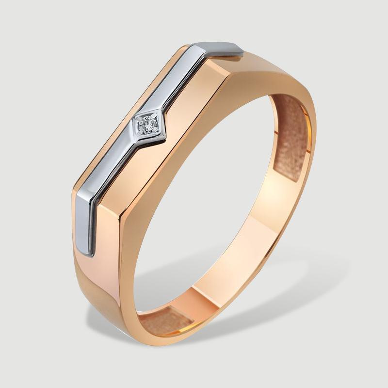 Золотий чоловічий перстень з невеликим діамантом