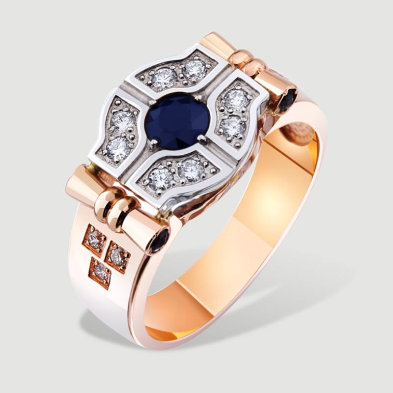 Золотий перстень з сапфірами та діамантами