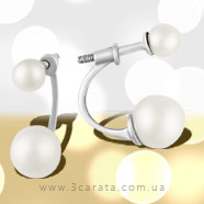 Золоті сережки кафи з перлами 'Заріна'