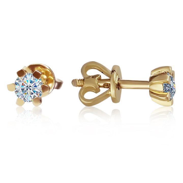 Классические серьги гвоздики из золота 'Рейчел'