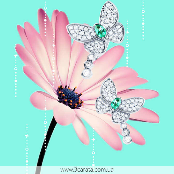 Золотые серьги с изумрудами и бриллиантами 'Райские бабочки'