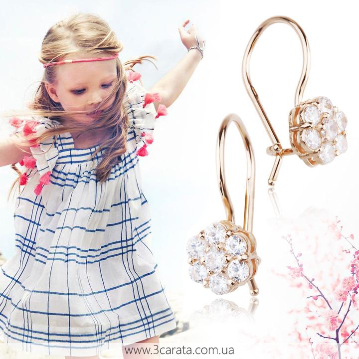 Золотые серьги с цирконием для девочки 'Baby'