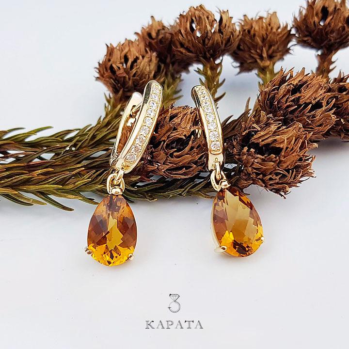 Эксклюзивные сережки-подвески с цитринами 'Magnifica donna'