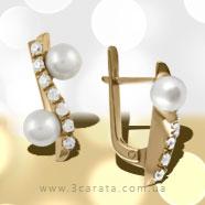Золотые серьги с жемчугом 'Звуки джаза'